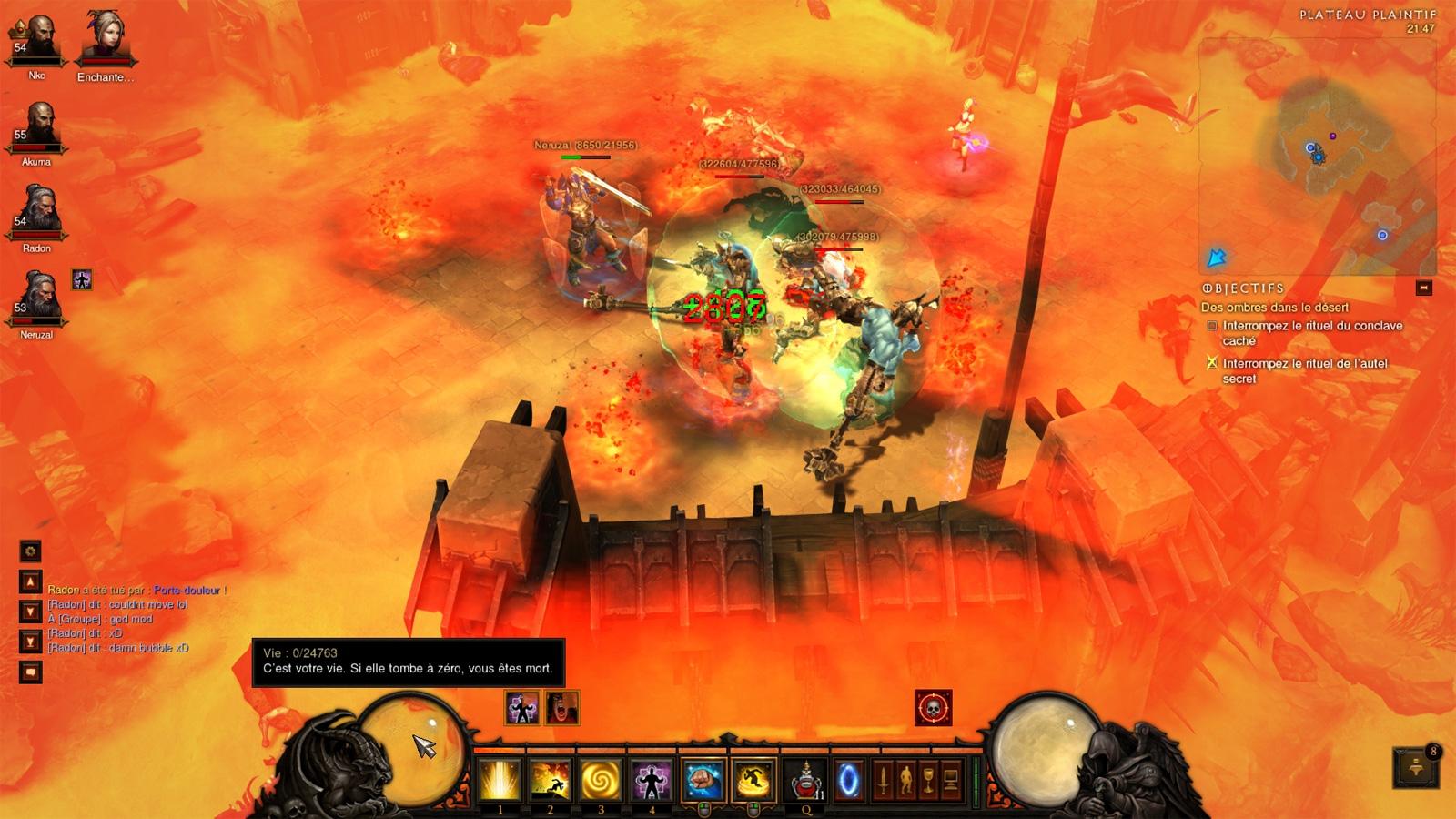Un bug où le joueur est resté en vie.  Screenshot de Nicolas.