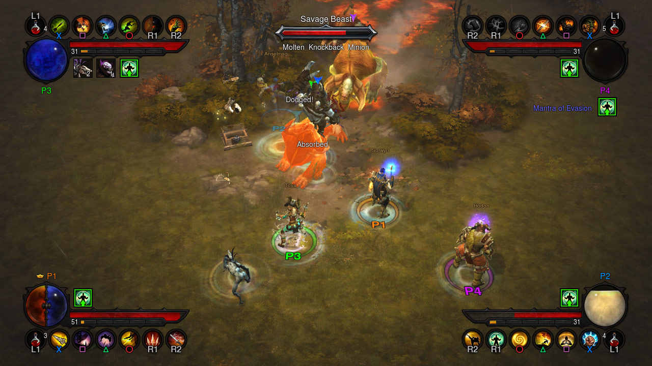 Screenshot du multijoueur de Diablo III sur Playstation 3.