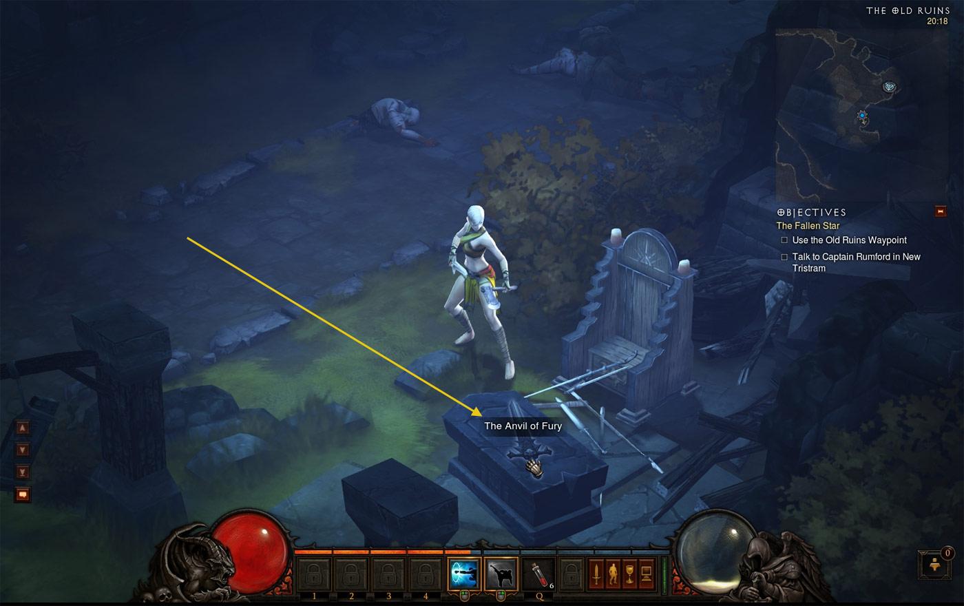 Référence à l'Anvil of Fury, une quête du 1er Diablo. Image de Rabochibarzac.