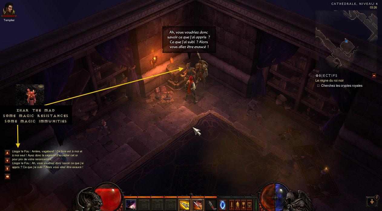 Référence au monstre Zhar the Mad du 1er Diablo. Image de Carlos.