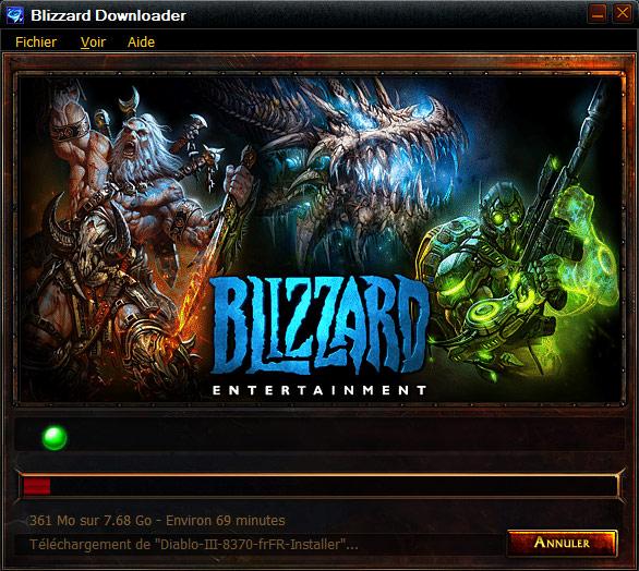 Téléchargement du client Diablo III.