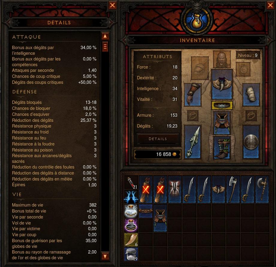 Interface de Diablo III.