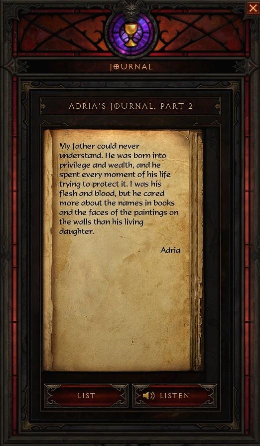 Journal trouvé dans Diablo III: Reaper of Souls.